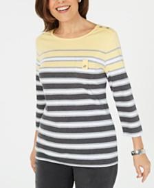 Karen Scott 3/4-Sleeve Striped Top, Created for Macy's
