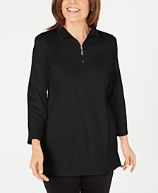 Cotton Half-Zip Mock-Neck Top, Created for Macy's