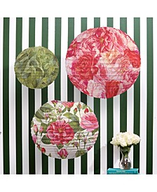 Floribunda Set of 3 Rose Pattern Lanterns in Gift Pack Includes 3 Sizes/Designs - Paper/Metal