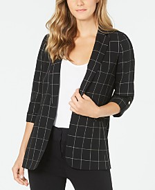 Calvin Klein Petite Windowpane Roll-Tab Jacket