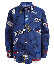 Tommy Hilfiger Big Boys Stan Logo-Print Twill Shirt