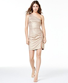 Juniors' One-Shoulder Ruched Dress