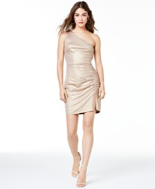 City Studios Juniors' One-Shoulder Ruched Dress