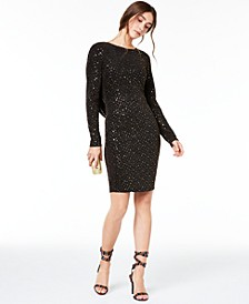 Juniors' Metallic-Dot Cowl-Back Dress