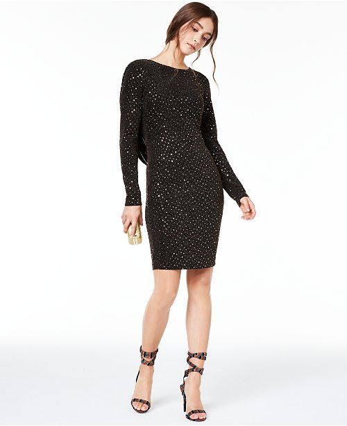 Teeze Me Juniors' Metallic-Dot Cowl-Back Dress
