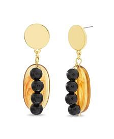 Catherine Malandrino Women's Simulated Amber Simulated Onyx Oval Drop Earrings