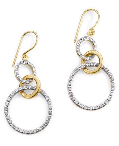 14k Gold Earrings, Diamond Accent Triple-Circle Drop Earrings