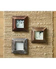 """St. Croix KINDWER Set of 3 Beveled Wood 3"""" x 3"""" Frames"""