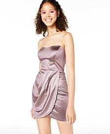 Juniors' Strapless Glitter Wrap Dress