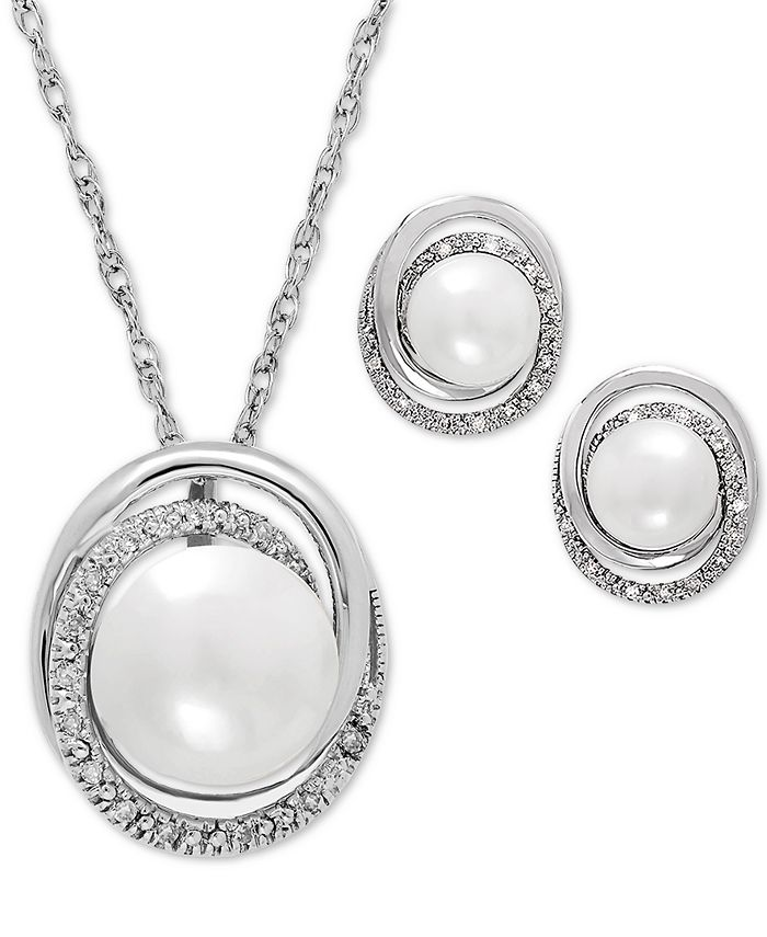 Macy's - Cultured Freshwater Pearl (7 & 8mm) and Diamond Accent Pendant Necklace and Matching Stud Earrings Set in Sterling Silver