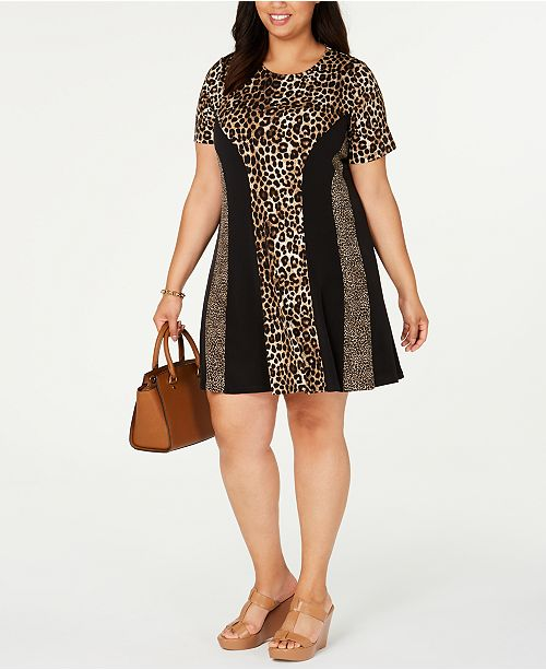 Michael Kors Plus Size Mixed-Print Swing Dress