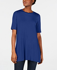 Elbow-Sleeve Round-Neck Tunic, in Regular and Petite