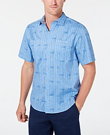 Men's Breeze Block Stretch Geo-Print Camp Collar Shirt
