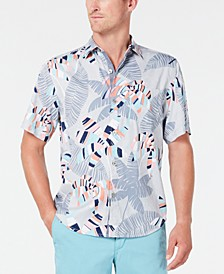 Men's Deco Palms Tropical-Print Camp Collar Shirt