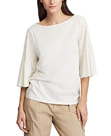 Lauren Ralph Lauren Petite Pintuck-Sleeve Knit Cotton Top