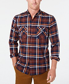 Men's Stretch Brushed Cotton Plaid Shirt, Created for Macy's