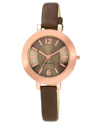 Nine West Women's Steel Gray Polyurethane Strap Watch 35mm NW-1319RGGY