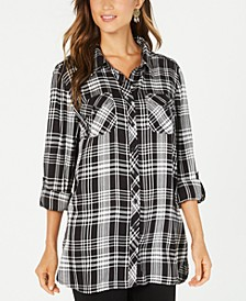 Petite Plaid Long Tunic, Created for Macy's