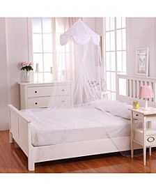 Cottonloft Pom Pom Collapsible Hoop Sheer Mosquito Net Bed Canopy