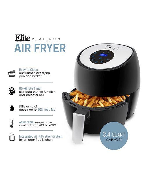 Elite Platinum 3 4 Quart Digital Air Fryer 7 Pre - Set Functions with  Adjustable Timer and Temperature Controls