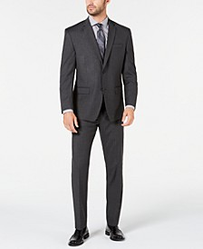 by Andrew Marc Men's Modern-Fit Stretch Charcoal Pinstripe Suit