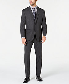 Marc New York by Andrew Marc Men's Modern-Fit Stretch Charcoal Pinstripe Suit