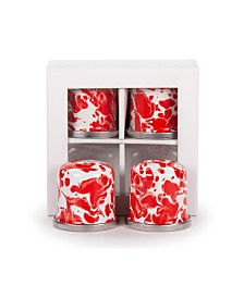 Golden Rabbit Red Swirl Enamelware Collection Salt and Pepper Shakers, Set of 2