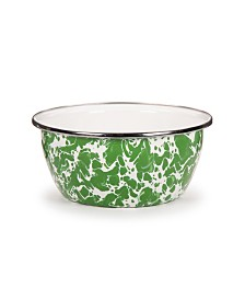 Golden Rabbit Green Swirl Enamelware Collection 3 Cup Salad Bowl