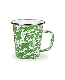 Golden Rabbit Green Swirl Enamelware Collection Latte Mug, 16oz