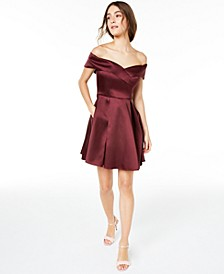 Juniors' Off-The-Shoulder Satin Dress, Created for Macy's