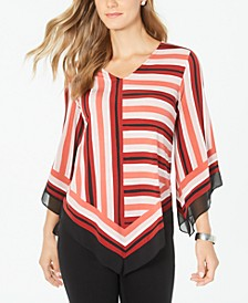 Petite Striped Poncho Top, Created for Macy's