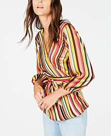 INC Striped Wrap Top, Created for Macy's