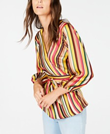 I.N.C. Striped Wrap Top, Created for Macy's