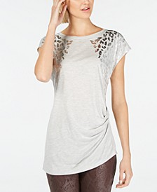 INC Foil Animal-Print T-Shirt, Created for Macy's
