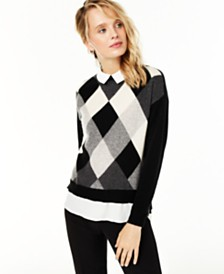 Charter Club Argyle Cashmere Layered-Look Sweater, Created for Macy's