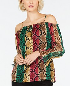 INC Multicolor Python-Print Top, Created for Macy's