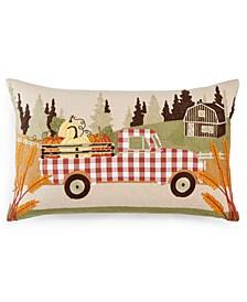 "Pumpkin Truck 14"" x 24"" Appliqué Decorative Pillow"