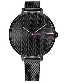 Tommy Hilfiger Women's Black Stainless Steel Bracelet Watch 38mm, Created for Macy's