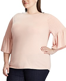 Plus Size Pintuck-Sleeve Knit Cotton Top