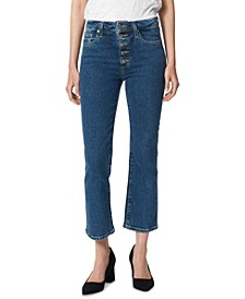 Callie Exposed-Button Straight Crop Jeans