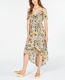 Juniors' Floral Cold-Shoulder High-Low Dress