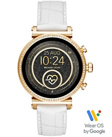 Michael Kors Access Women's Sofie Heart Rate Embossed White Silicone Strap Touchscreen Smart Watch 41mm, Powered by Wear OS by Google™