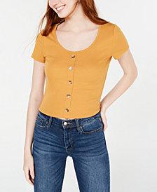 Hippie Rose Juniors' Button-Front Rib-Knit T-Shirt