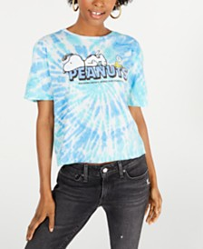 Peanuts Juniors' Cotton Tie-Dyed Graphic T-Shirt