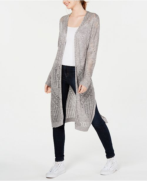 Hooked Up by IOT Juniors' Pointelle Open-Front Duster Cardigan