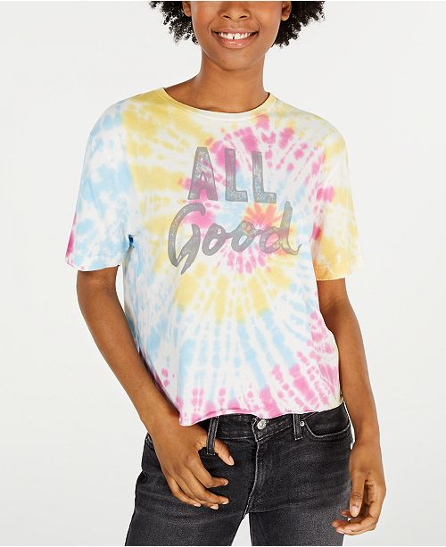 Love Tribe Juniors' Cotton All Good Tie-Dyed Graphic T-Shirt