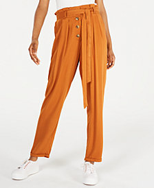 Planet Gold Juniors' Belted Paperbag Pants
