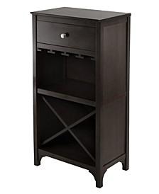 Ancona Modular Wine Cabinet with One Drawer, Glass Rack and X Shelf