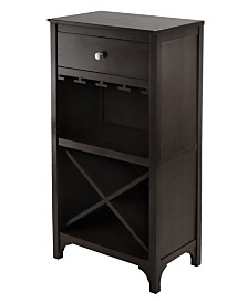 Winsome Wood Ancona Modular Wine Cabinet with One Drawer, Glass Rack and X Shelf