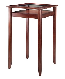 Winsome Wood Halo Pub Table with Glass Inset and Shelf